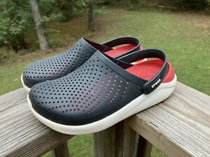 Crocs LiteRide Clogs M 6/W 8 Slip On Black/Red/White Comfort Shoes