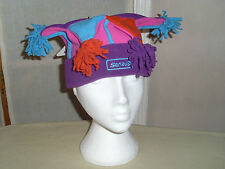 GIRL'S 'SERIOUS' FLEECE JESTER STYLE 'FESTIVAL' HAT. BNWT. MULTICOLOUR 9-12YEARS