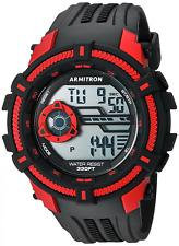 Armitron Men's Black Resin Watch, 100 Meter WR, Chronograph, 40/8384RED