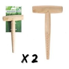 2 x WOODEN GARDEN DIBBER 1-10cm Depth T Handle Marker Seed/Bulb/Shoot Planting