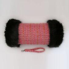 Linton Tweed Rosa Negro Premium Piel Recortado Mano Calentador Guantes hecho a mano de manguito