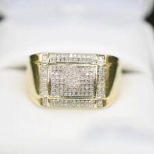1 Ct Round Sim Diamond Engagement Mens Cluster Ring 10K Yellow Gold Finish