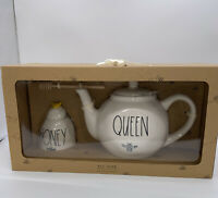 Rae Dunn By Magenta QUEEN BEE Teapot & HONEY Pot With Wooden Stick Gift Set NEW