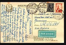 1956 RUSSIA AIR MAIL POSTCARD TO URUGUAY  РОССИЯ марка
