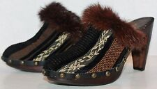 Joey O J1333 Brown Black Leather Fur Wooden Clogs Heels Shoes Size 5.5