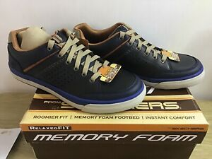 Skechers Diamonback Rendol Navy Leather Trainers UK 6 EUR 39.5 BNIB
