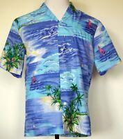 Vintage Royal Creations Hawaiian Aloha Shirt Welt Pocket Polyester Beach Scene M