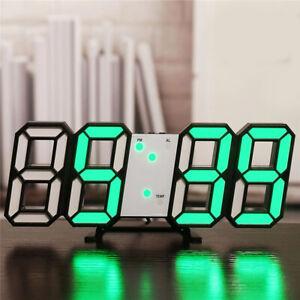 Modern 3D Digital USB Electronic LED Night Wall Clock Alarm Watch Display Indoor