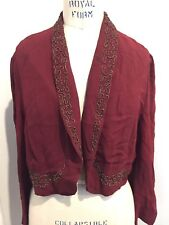 Vintage 20s 30s Beaded Rayon Crepe Jacket Burgundy Very Good Condition