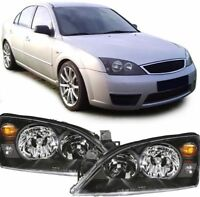 BLACK HEADLIGHTS HEADLAMPS  LIGHTS FOR FORD MONDEO MK3 MK 3 MODEL 7/2000-6/2007