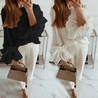 Plus Size Women Sheer Lace Crochet Victorian T Shirt Tee Ladies Party Top Blouse