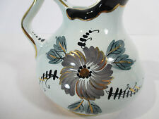 Delft Pitcher Blue Green Gray Flower Black Gold Accent Signed Joyce Holland