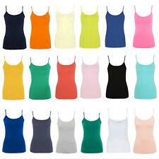 Ladies Womens Girls Stretch Cami Vest Top Adjustable Straps George
