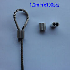 1.2mm ALUMINUM CABLE DOUBLE FERRULES CABLE STOPS SNARE WIRE SWAGE TRAP 100 PACK