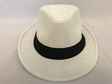 239aa2c670904 WOMEN Straw Hat Trilby Cuban Cap Summer Beach Sun Panama Short Brim Unisex  White