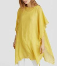 Eileen Fisher Yellow Sheer Lightweight Organic Cotton Fringe-Trim Poncho O/S