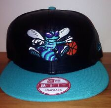NWT CHARLOTTE HORNETS NEW ERA 9FIFTY BLACK Leather Like Perforated SNAPBACK HAT