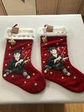 (2) 2001 Harry Potter Golden Snitch Red Christmas Stocking Wizard Stars Book Art