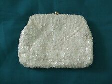 Vintage Sequined Evening Clutch Bag/Iridescent White Sequins & Beads