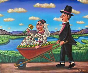 Wedding day gift painting just married couple on wheelbarrow by German Rubio