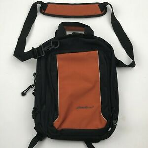 Eddie Bauer Black Orange Canvas Zip Around Lap Top Travel Backpack Size Medium