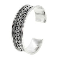 Braided Sterling Silver Cuff Bangle Bracelet for men and women