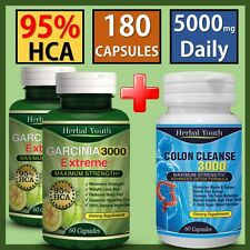 3 x Bottles Garcinia Cambogia 95%HCA Colon Detox Diet Weight Loss Slimming Pills