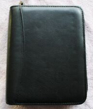 """6 --1.25"""" rings Compact Franklin Covey Black GENUINE Leather ZIPPER Planner NICE"""