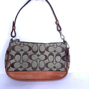 Coach 6094 Small Brown Khaki Canvas Leather Signature Shoulder Purse Handbag