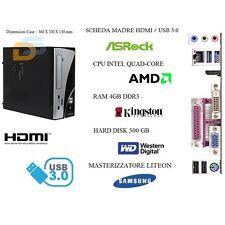 PC DESKTOP QUAD CORE HD 500GB RAM 4GB USB HDMI PC MINI FISSO COMPLETO ASSEMBLATO