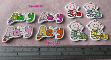 8 X WOODEN BUTTONS - 2 DIFF BABY TYPE EMBELLISHMENT - CARDMAKING/SCRAPBOOKING UK