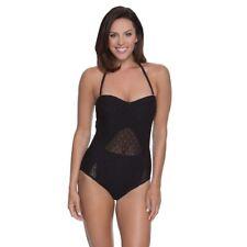 dc1069e509305 Aqua Couture Women s Dreamscape Crochet 1-piece Swimsuit Large Black