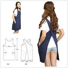 Soft Cotton Linen Apron Solid Color Halter Cross Bandage Aprons Japanese Style X