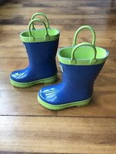 Hatley Toddler Rubber Boot Blue Green Solid Boy Girl Size 6