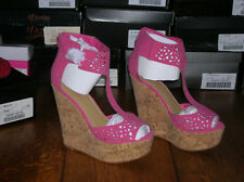 NIB Just Fab Fuchsia Pink Faux Leather Cut-work Platform Wedge Size 10