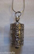 Tibetan Buddhism Om Mani Auspicious Symbols Silver Prayer Wheel Pendant