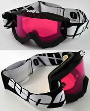100% PERCENT ACCURI SNOWBOARD SKI GOGGLES BLACK with DUAL VENTED ROSE PINK LENS