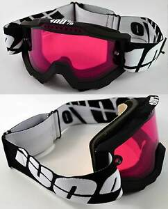 100% PERCENT ACCURI SNOWBOARD SKI GOGGLES BLACK with DUAL VENTED ROSE PINK LENS