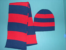 PERSONALIZED KNIT BEANIE CAP + SCARF SET NAVY + RED RUGBY STRIPED TEAM SPORTS NU