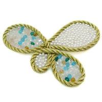 Broche idée cadeau papillon cordon doré et perles imit. culture et multicolores