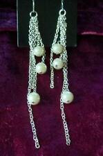 SEXY LONG SILVER/CHAIN/PEARL CLIP-ON EARRINGS TV/CD