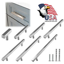 Brushed Nickel Modern Cabinet T Handles Pulls Kitchen Hardware Stainless Steel