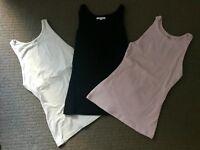 3 KOOKAI Size 2 ALPHA TANK TOPS WHITE BLACK AND PINK RRP$120 CURRENT SEASON
