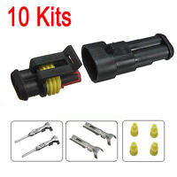 10 Kits 2 Pin Way Car Auto Sealed Waterproof Electrical Wire Connector Plug Set