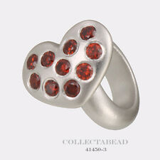 Authentic Endless Sterling Silver Garnet Heart of Love Silver Bead 41450-3
