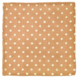 """18"""" x 18"""" Square Burlap Table Mat with Cream Polka Dots"""