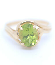 Genuine Natural Oval Brilliant Peridot Ring 14k Yellow Gold Size 7.5 Beautiful