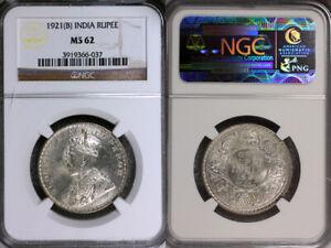 1921-B India Rupee NGC MS62 Scarce Date