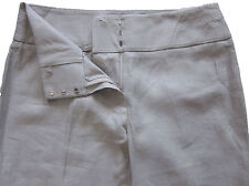 New Womens Marks & Spencer Beige Linen Trousers Size 16 Medium DEFECT