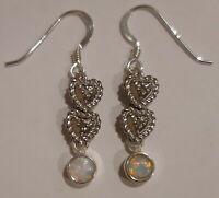 Vintage Silver Plated Dainty Heart Earrings